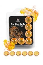 6 Brazilian Balls - effet chaleur : La chaleur du corps transforme la brazilian ball en liquide glissant à effet chaud, votre imagination s'en trouve exacerbée.