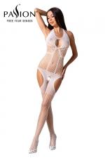 Combinaison résille BS079 - Blanc : Combinaison ouverte blanche en bodystocking de la marque Passion.