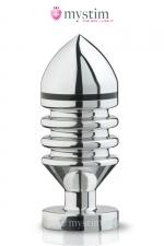 Plug électro-stimulation L Hector Helix - Mystim : Plug anal haute qualité taille L, en aluminium poli miroir, forme en hélix pour plus de sensations et stimulation électrique.