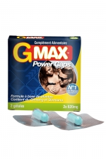 G-Max Power Caps Homme (2 gélules) : Une érection plus vigoureuse qui dure plus longtemps? G-MAX est le complément alimentaire aphrodisiaque pour hommes n1 en France.