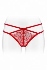String ouvert Mylene - rouge : String coquin rouge en dentelle et ornements croisés, ouvert entre les cuisses, par Fashion Secret.