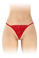 String avec perles Venusina - rouge : String rouge ouvert, sensuel et coquin, avec perles nacrées stimulantes à l'entre-jambes, par Fashion Secret.