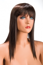 Perruque Allison châtain : Perruque châtain longue et à frange effilée pour changer de look.