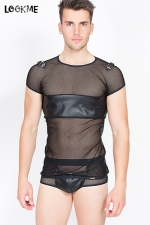 T-shirt Thunder : En résille fantaisie et faux cuir, osez le tee-shirt homme (très) sexy !
